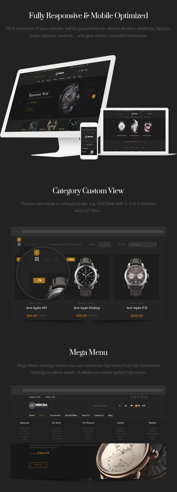 Mirora - 仿牌手表奢侈品Opencart主题