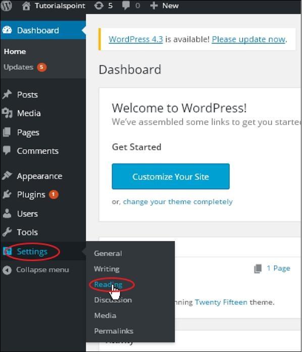 WordPress 阅读设置