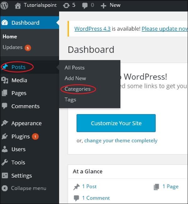 WordPress 添加类别