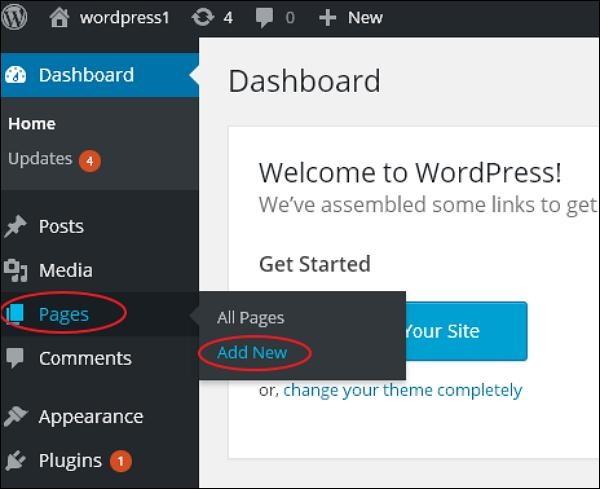 WordPress 添加页面