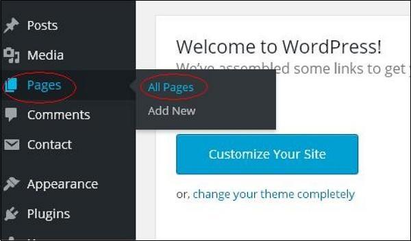 WordPress 删除页面
