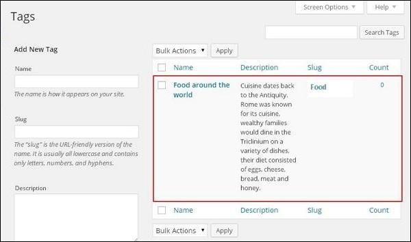 WordPress 添加标签