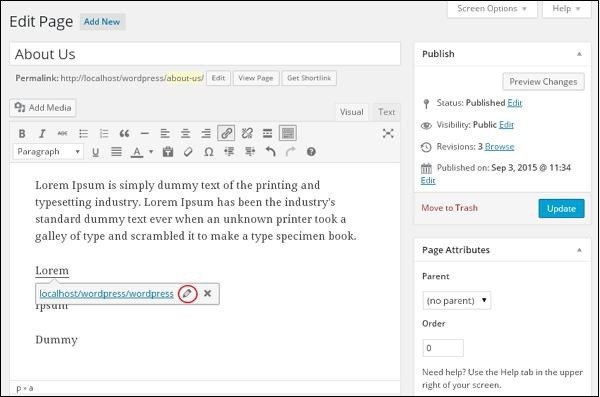 WordPress 编辑链接