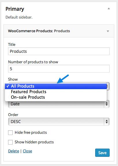 WooCommerce包含的小工具